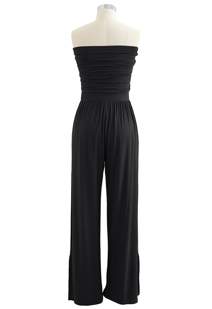 Ruched Front Soft Touch Slit Jumpsuit in Black