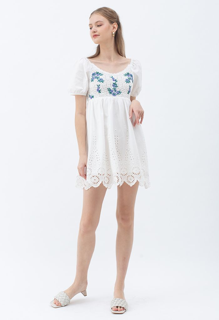 Embroidered Floral Cotton Dolly Dress