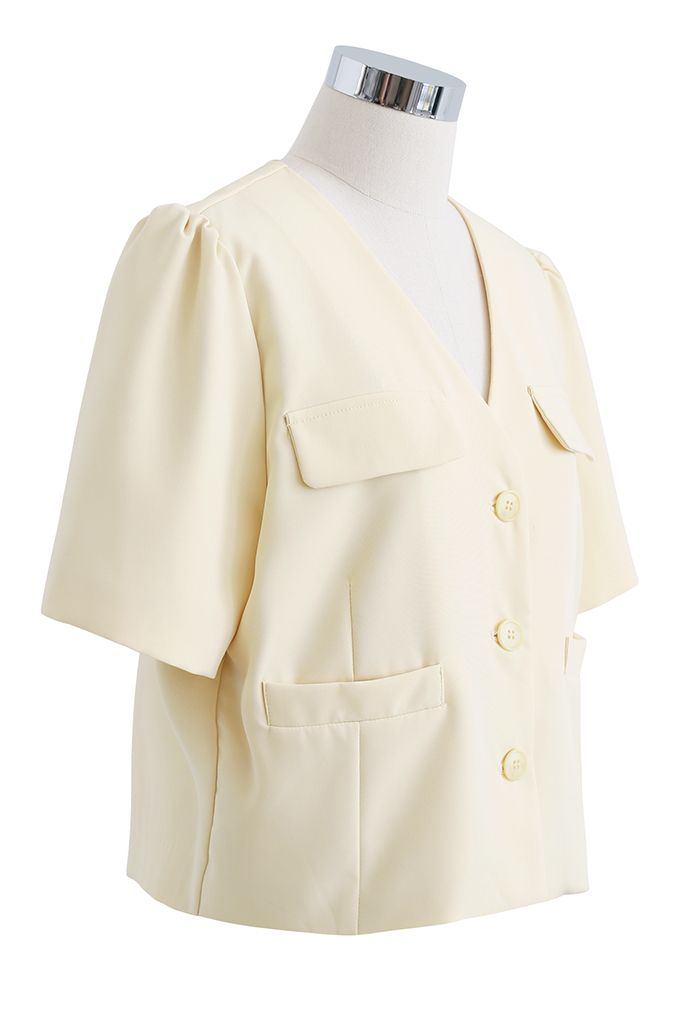 Button Down Short Sleeve Cropped Blazer in Light Yellow
