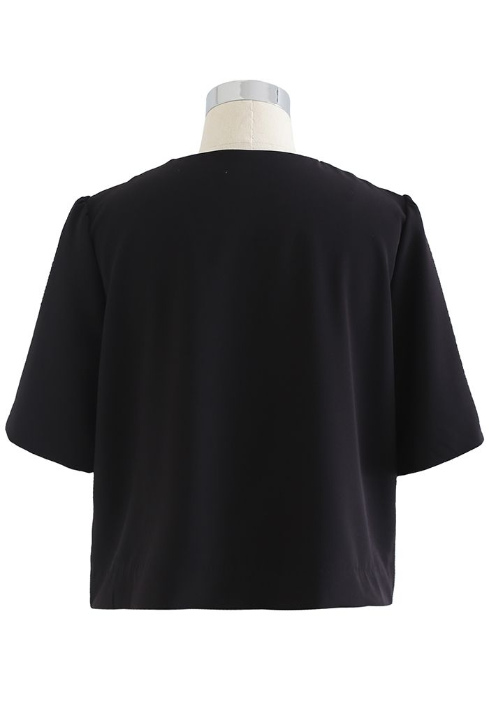 Button Down Short Sleeve Cropped Blazer in Black