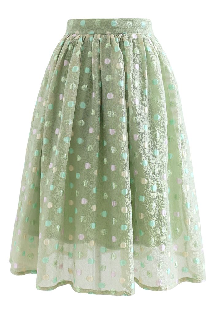 Colorful Dots Jacquard Organza Pleated Skirt in Green