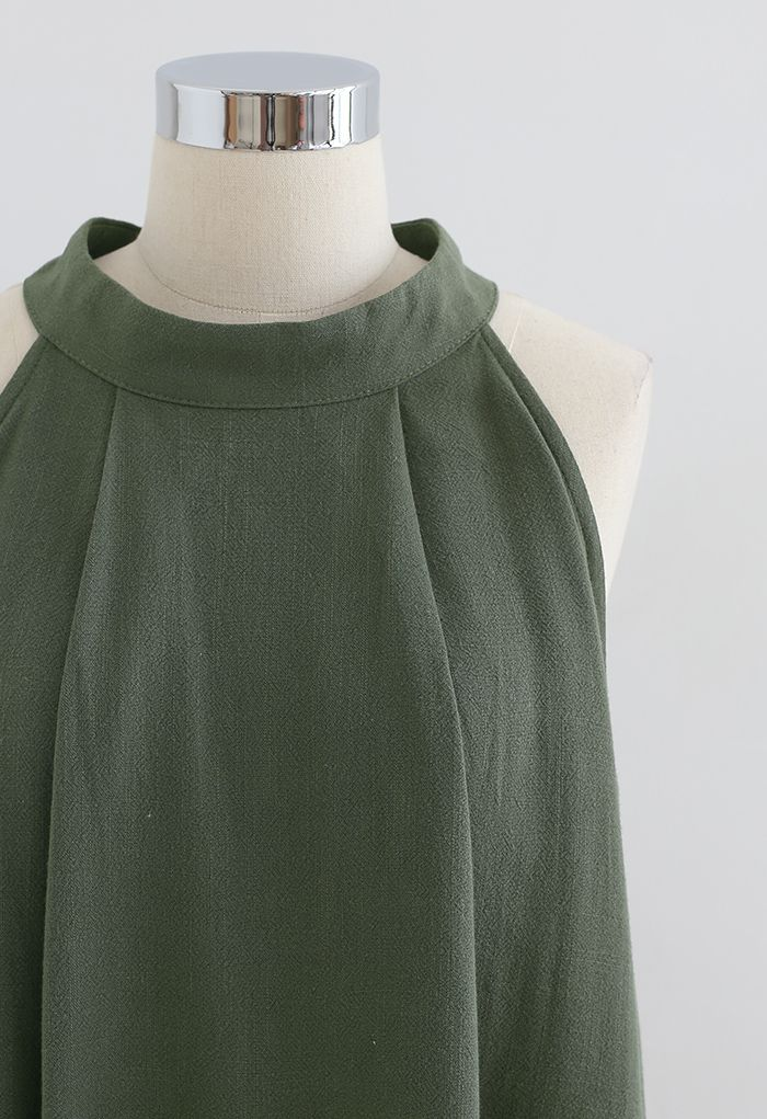 Halter Neck Flared Top and Shorts Set in Army Green