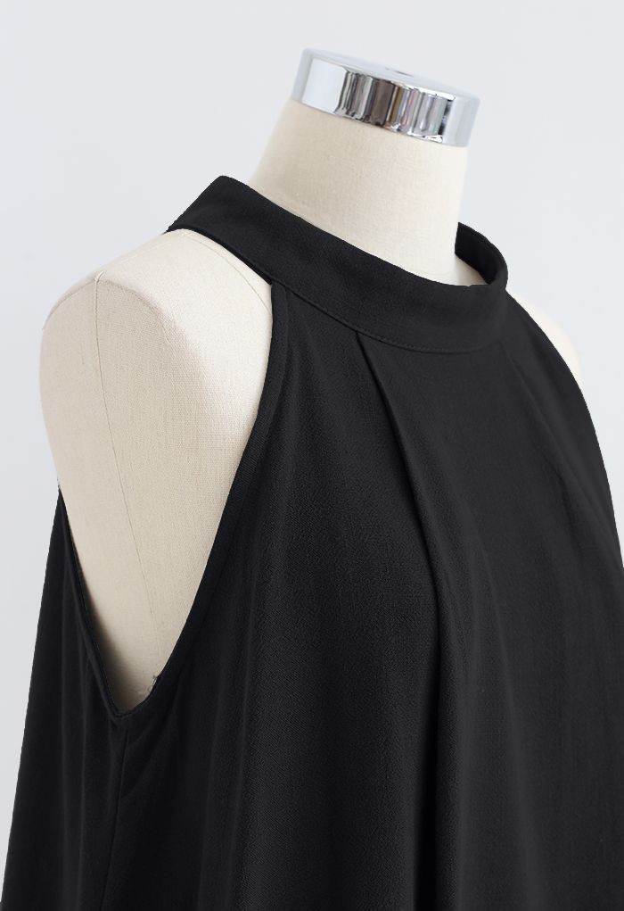 Halter Neck Flared Top and Shorts Set in Black