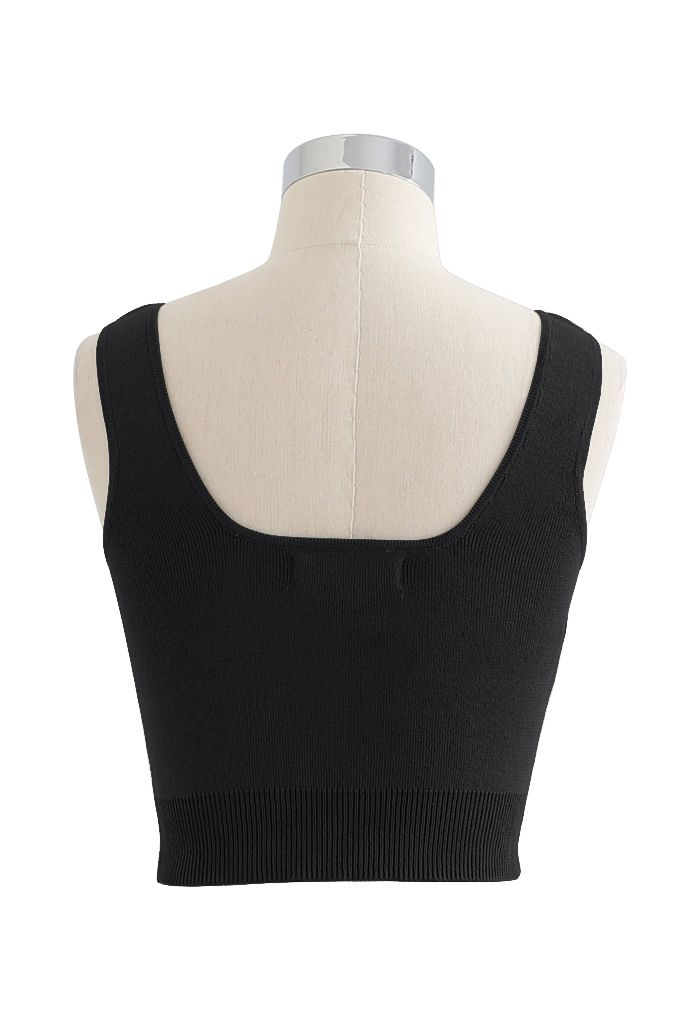 Ruched Front Knit Crop Tank Top in Black