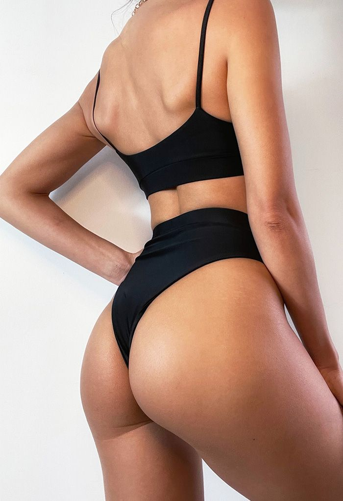Colorful Sequin Cami Bikini Set in Black