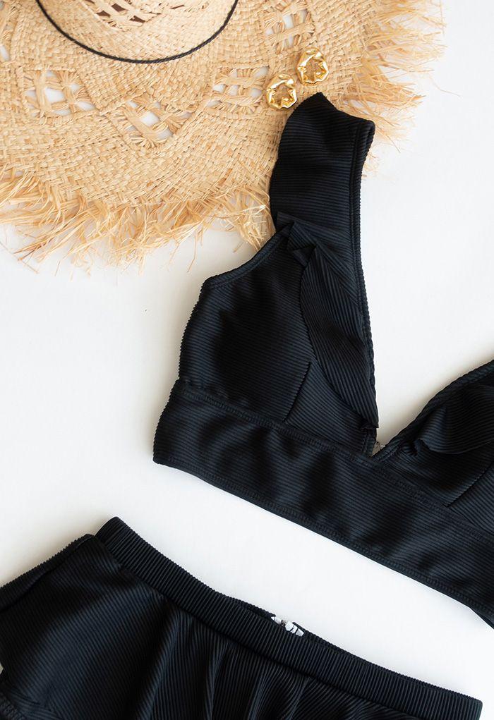 Zippered Back Ruffle Bikini Set in Black