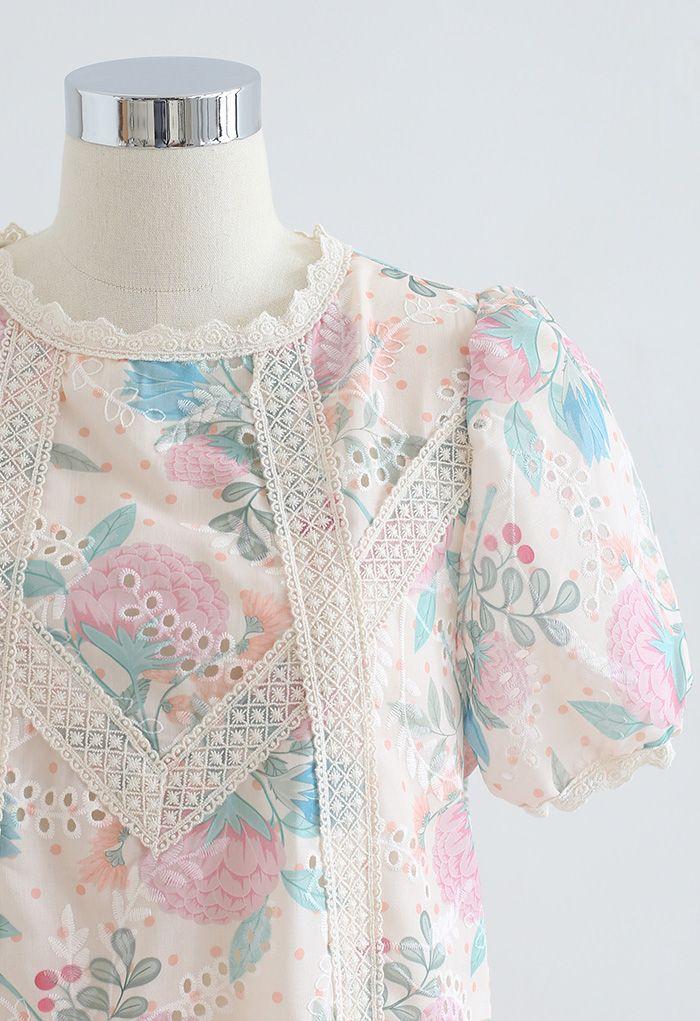 Blush Hortensia Crochet Trim Eyelet Top