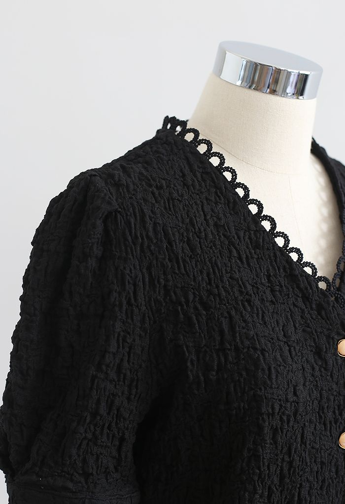 Embossed V-Neck Button Front Top in Black
