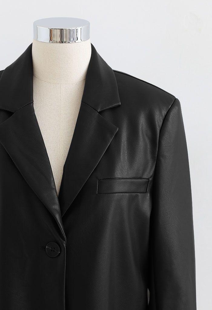 Faux Leather Pad Shoulder Crop Blazer in Black