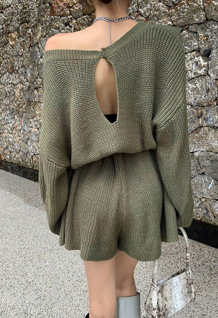 Drawstring Waist Rib Knit Playsuit in Army Green