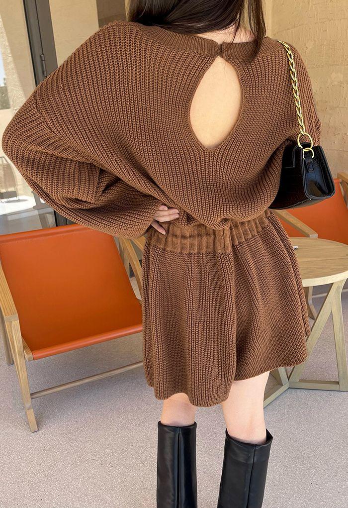 Drawstring Waist Rib Knit Playsuit in Caramel