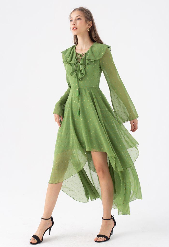 Golden Spot Jacquard Chiffon Waterfall Dress