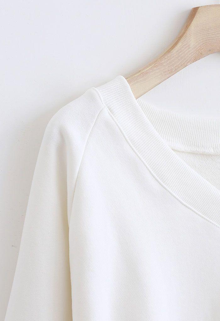 Cotton V-Neck Oversized Crop Sweatshirt in White