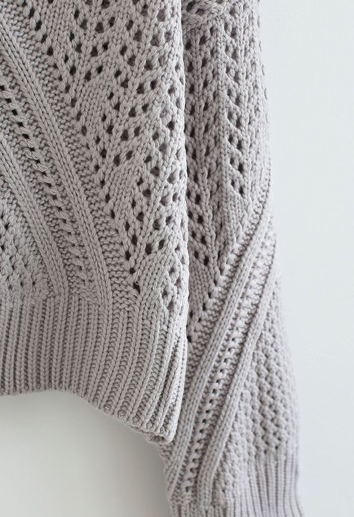 Hollow Out Chunky Knit Sweater in Grey