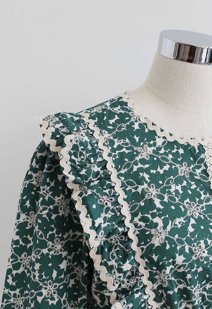 Floral Print Ruffle Peplum Top in Green