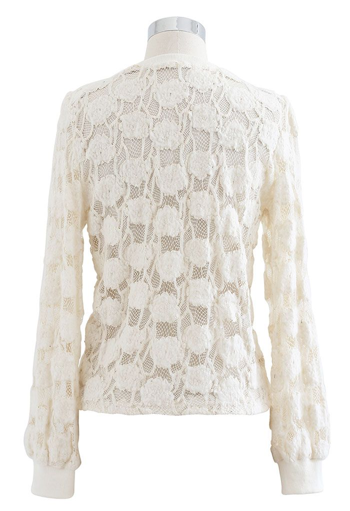 Button Down Pad Shoulder Mesh Top in Cream