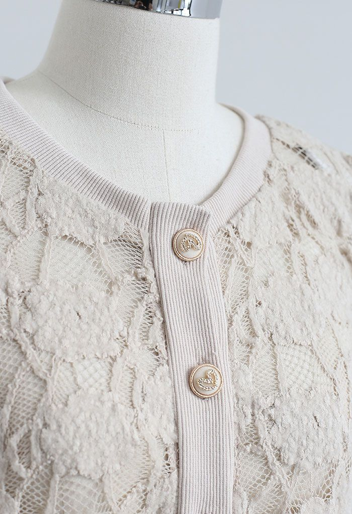 Button Down Pad Shoulder Mesh Top in Taupe