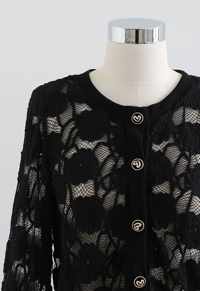 Button Down Pad Shoulder Mesh Top in Black