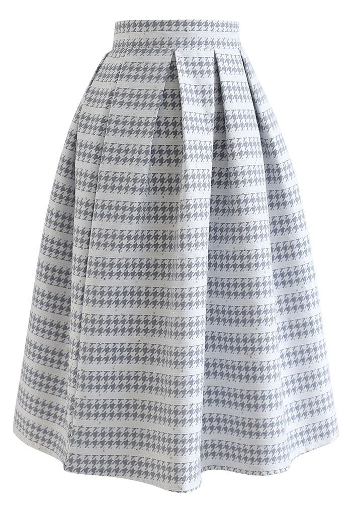 Embossed Houndstooth Sequined Pleated Skirt in Grey