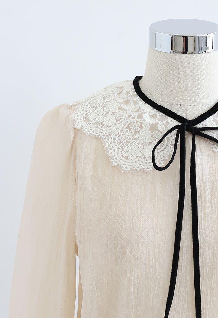 Peter-Pan Collar Tie Bow Lace Organza Top in Cream