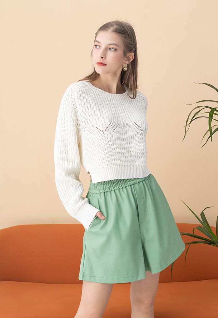 Open Back Tie Bow Crop Rib Knit Sweater in White