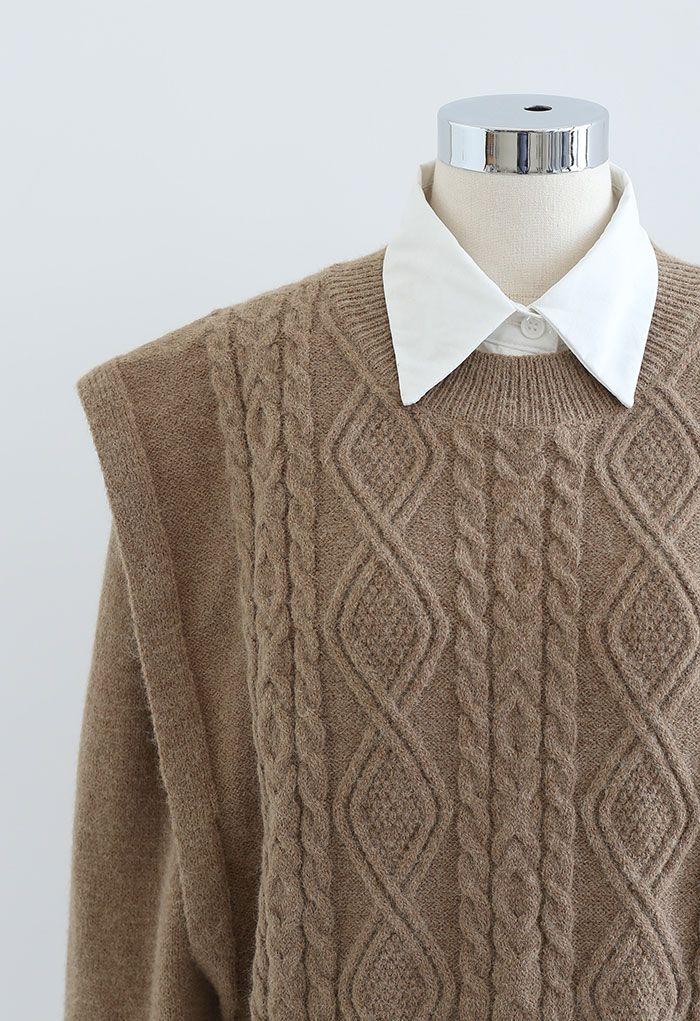 Two-Piece Braid Knit Spliced Top