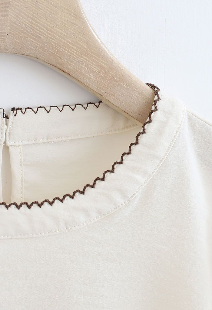 Stitch Edge Round Neck Smock Top in Cream