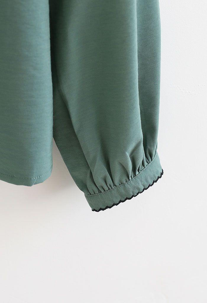 Stitch Edge Round Neck Smock Top in Green