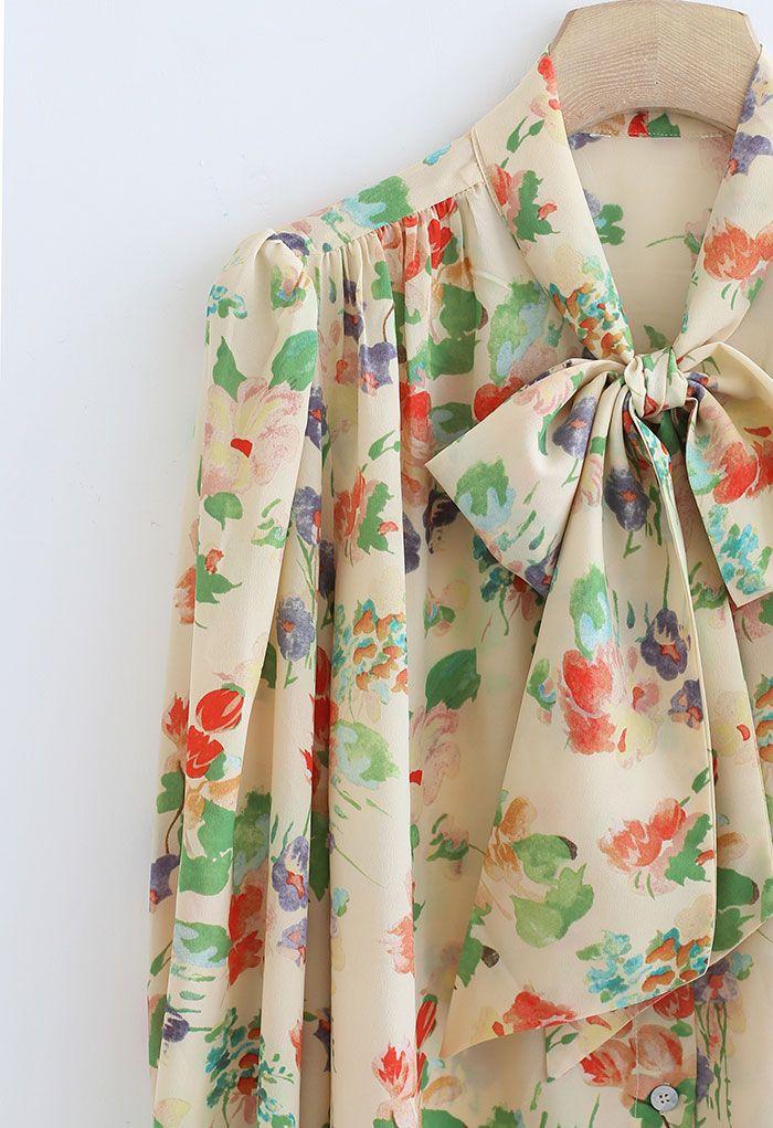 Mellow Floral Print Self-Tie Bowknot Chiffon Shirt