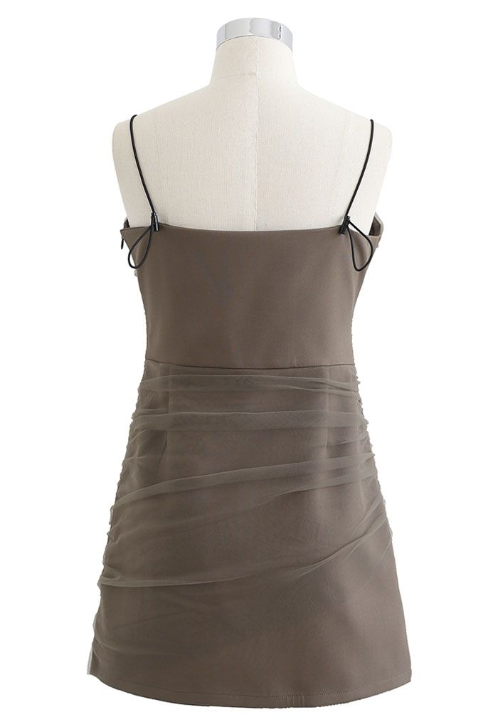 Mesh Ruched Front Cami Mini Dress in Olive