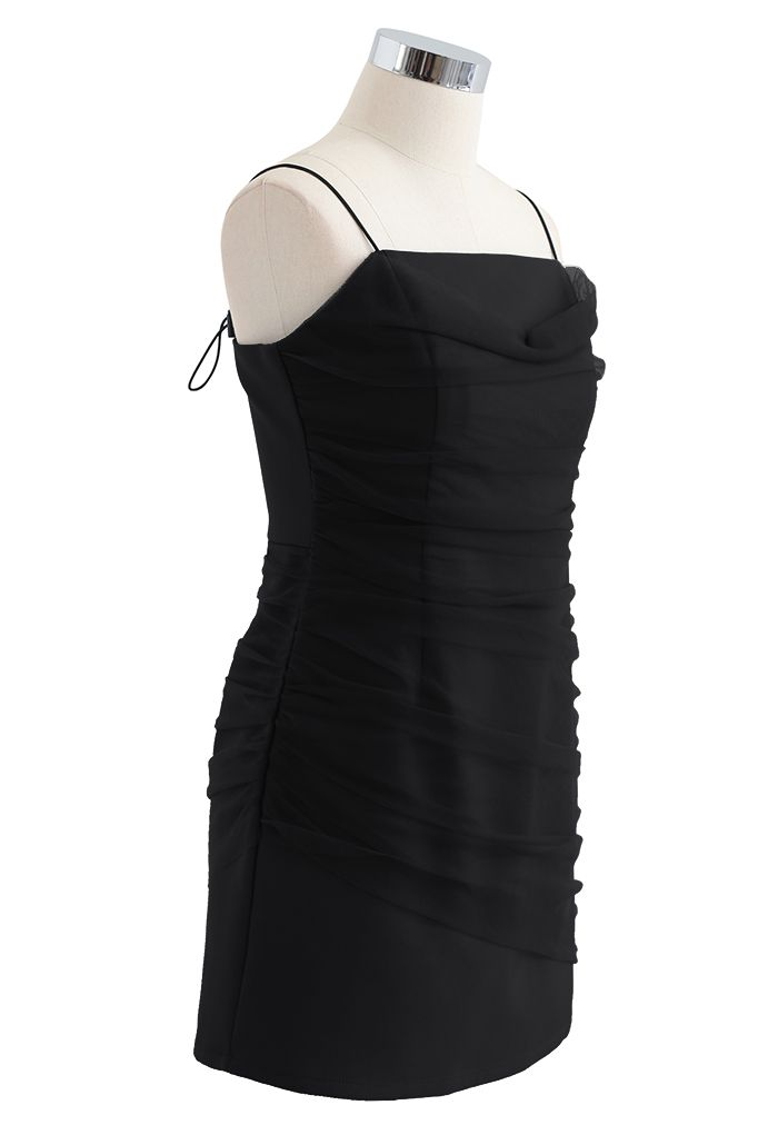 Mesh Ruched Front Cami Mini Dress in Black