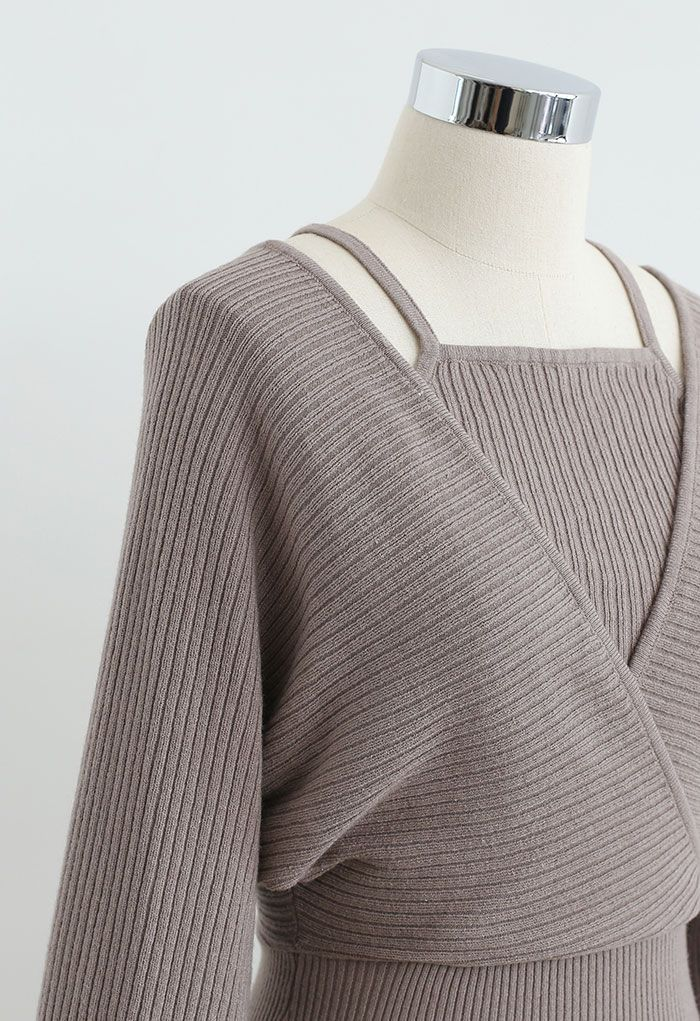 Fake Two-Piece Cold-Shoulder Wrap Knit Dress in Taupe