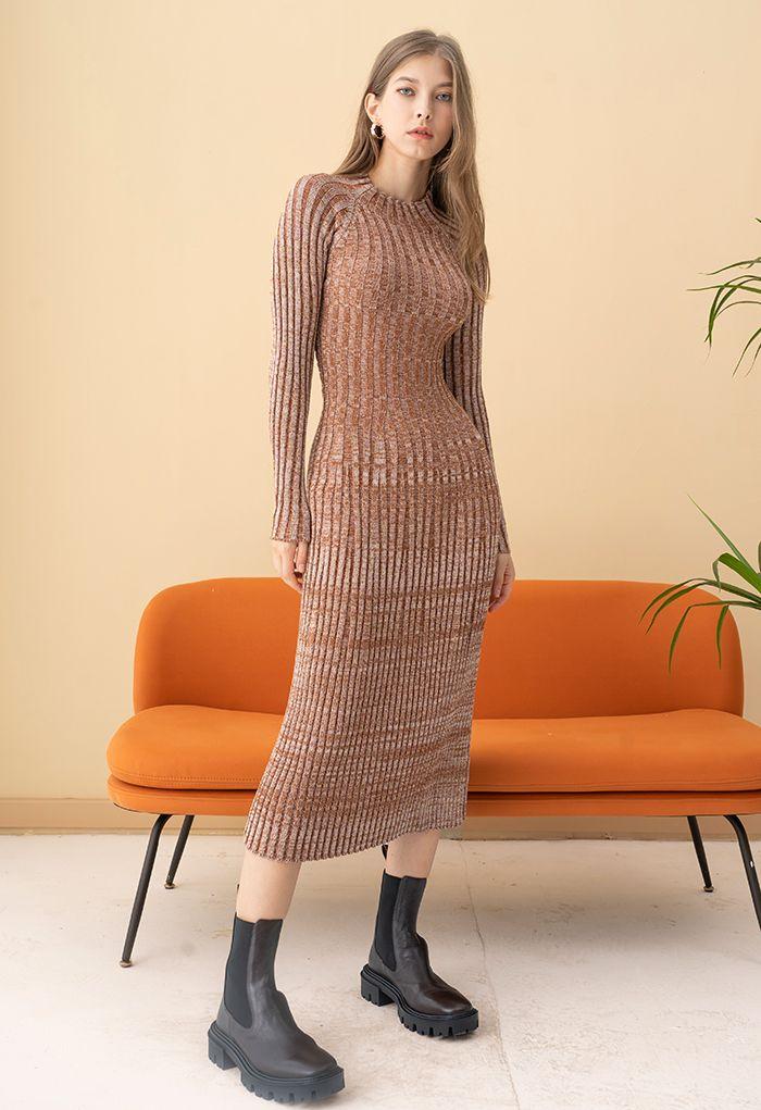 Twist Back Ribbed Mix-Knit Midi Dress