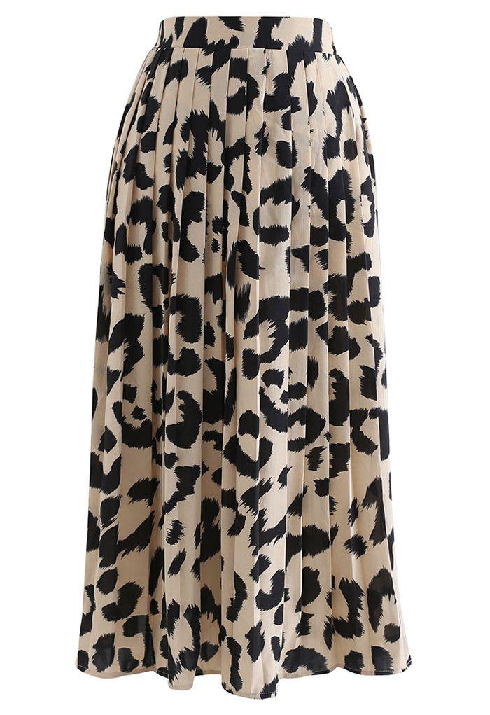 Leopard Print Chiffon Pleated Midi Skirt in Light Tan