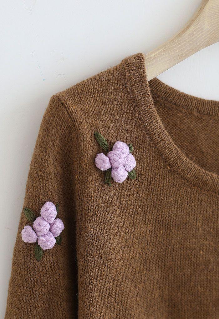 Pom-Pom Posy Cropped Knit Top in Caramel