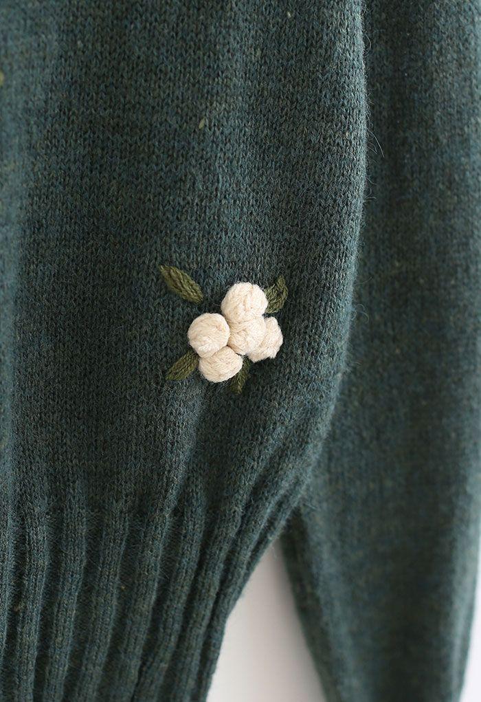Pom-Pom Posy Cropped Knit Top in Dark Green
