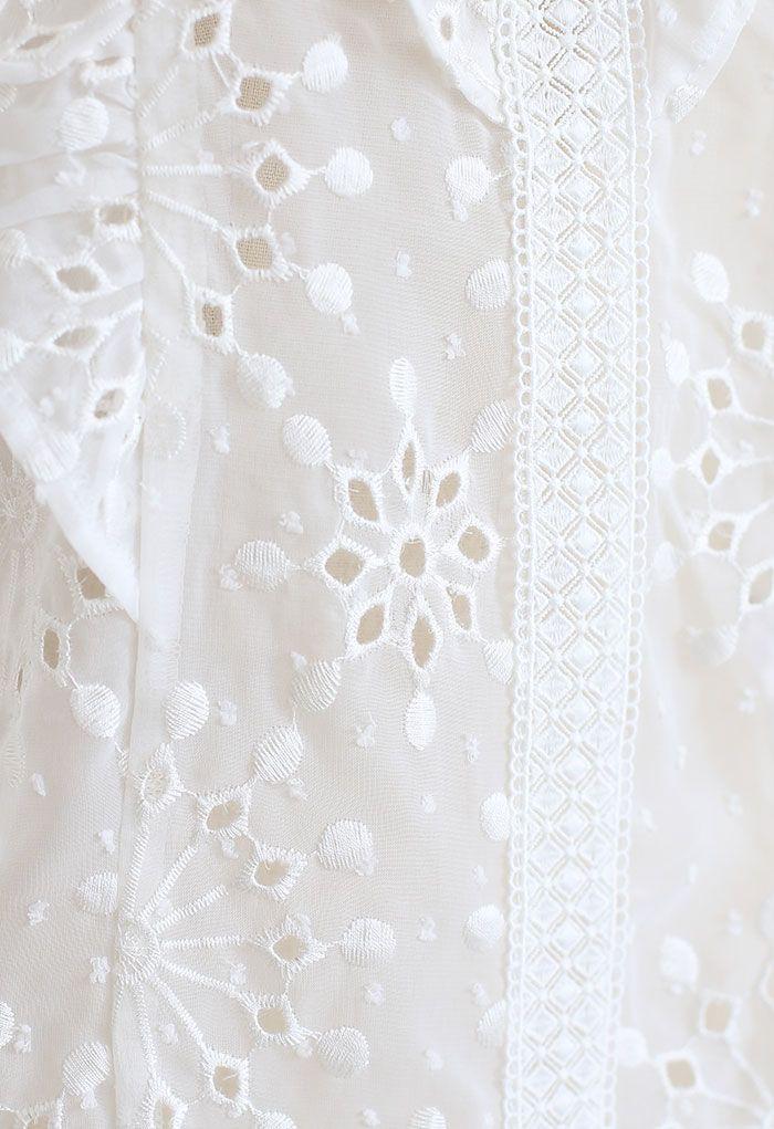 White V-Neck Embroidered Eyelet Sheer Top