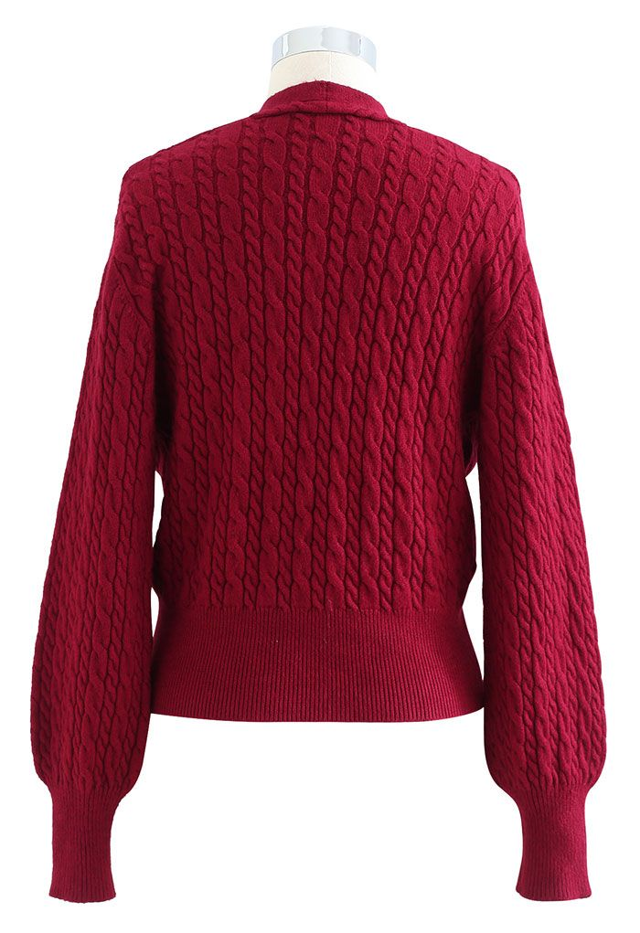 Cable Knit Wrap Front Crop Sweater in Red