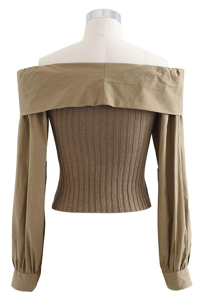 Twist Front Spliced Crop Rib Knit Top in Khaki