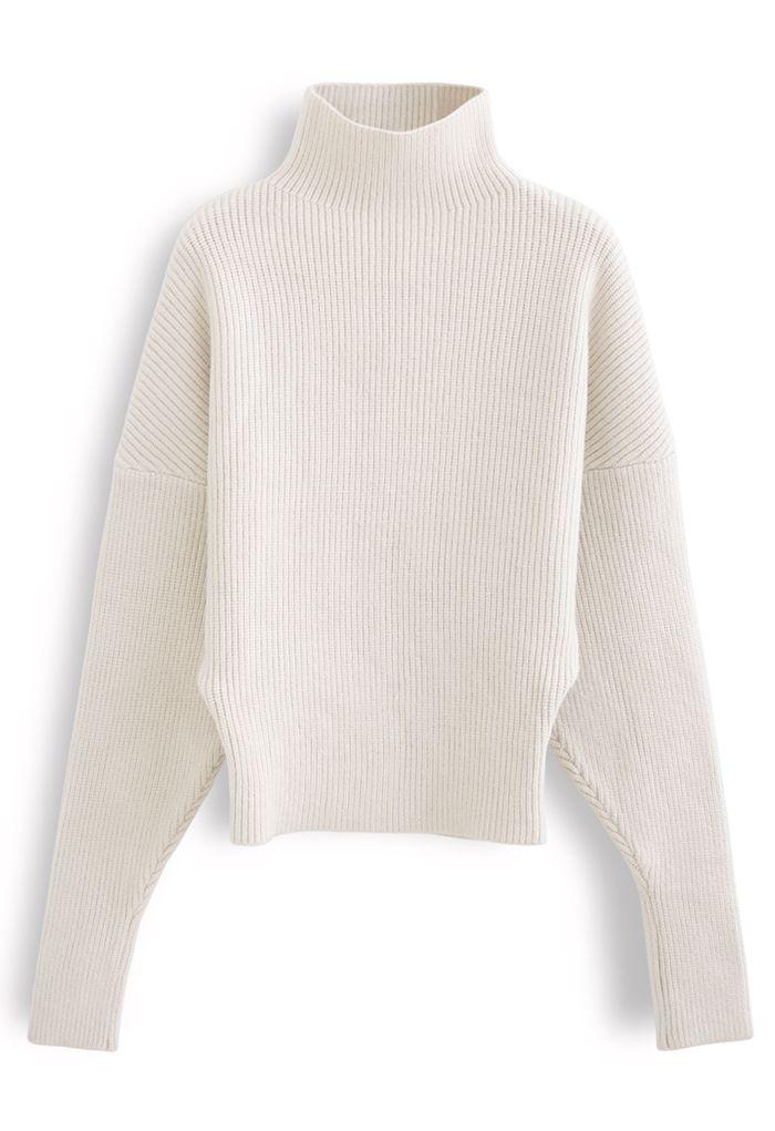 Batwing Sleeves Turtleneck Rib Knit Sweater in Cream