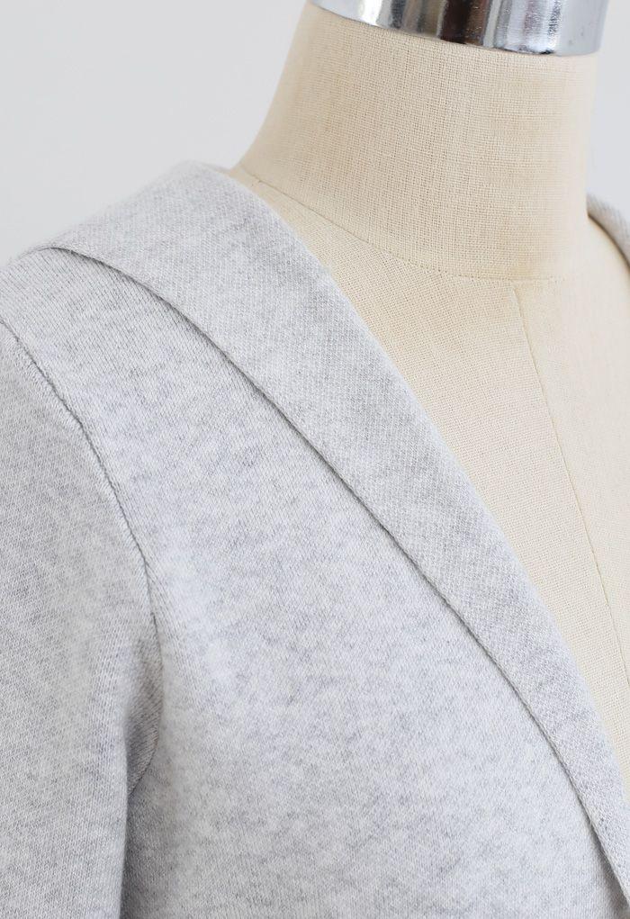 Open Front Hooded Knit Longline Cardigan in Grey