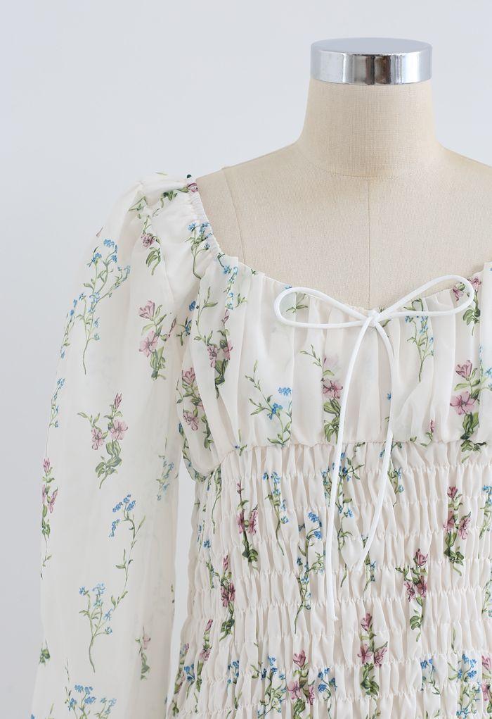Bouquet Shirred Ruffle Mini Dress in White