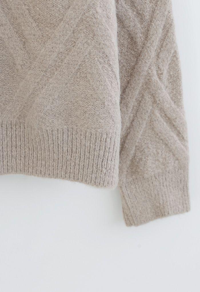Crisscross Pattern Fuzzy Knit Sweater in Sand