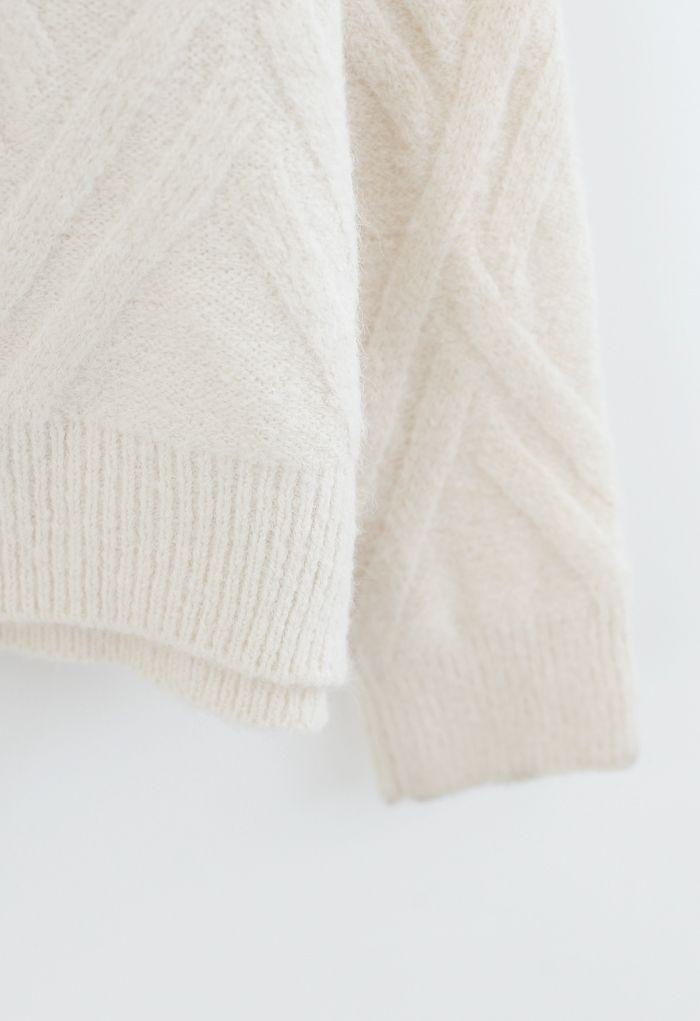 Crisscross Pattern Fuzzy Knit Sweater in Cream