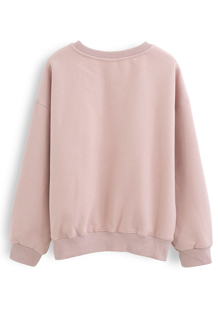 Amore Printed Fleece Sweatshirt in Pink