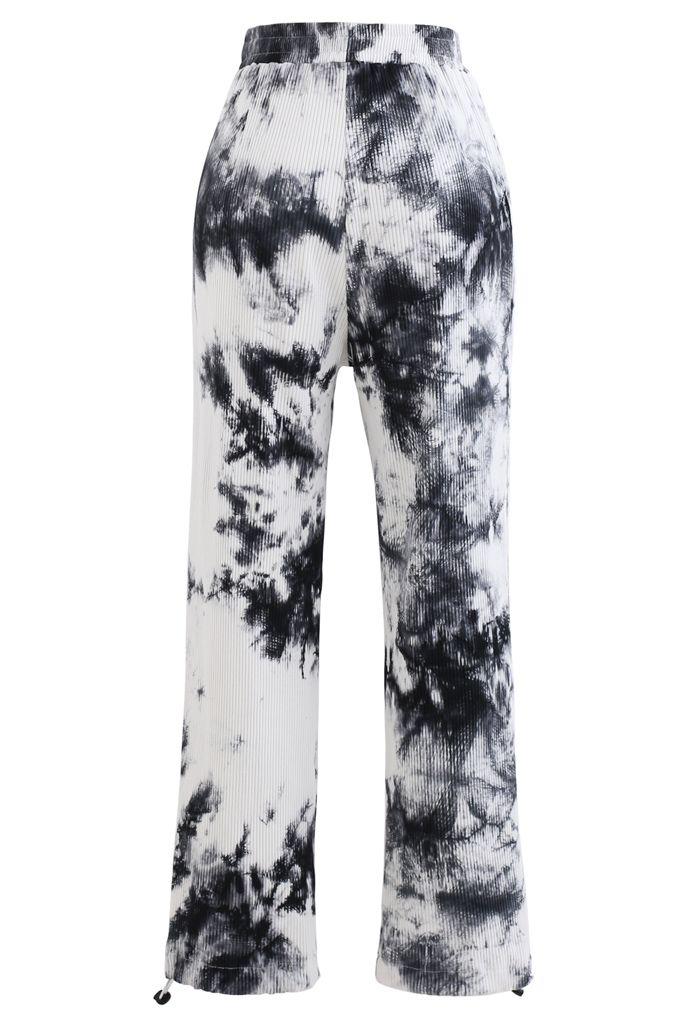 Pocket Tie Dye Ribbed Drawstring Hem Pants