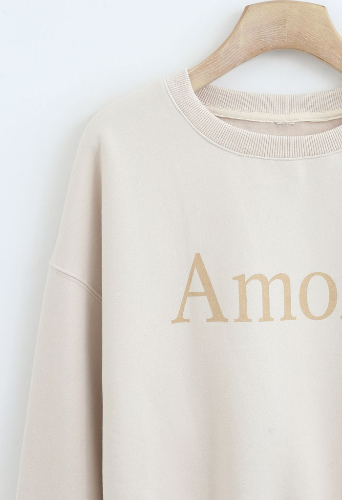 Amore Printed Fleece Sweatshirt in Cream