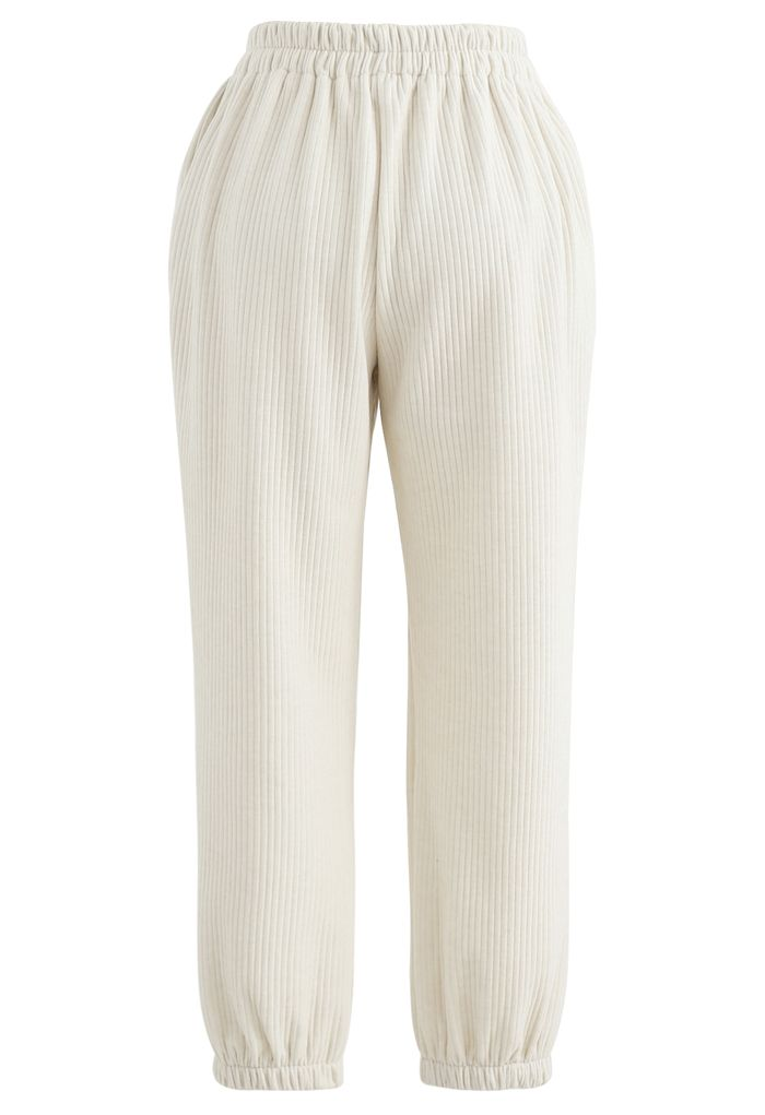 Corduroy Cropped Tapered Joggers in Ivory