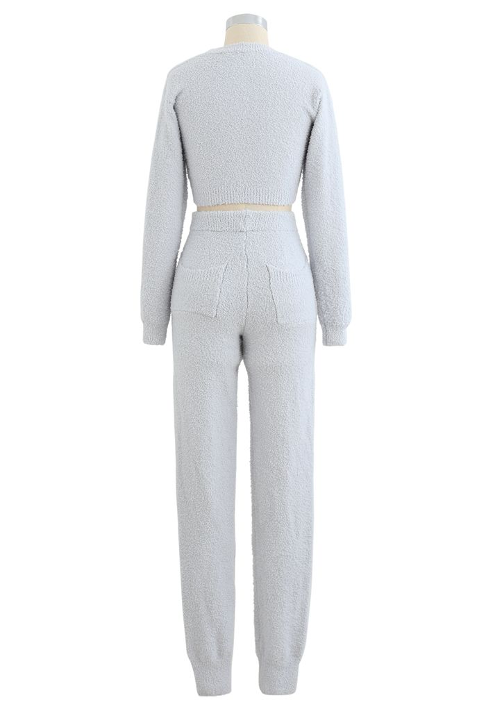 Fluffy Knit Crop Top and Drawstring Joggers Set in Light Blue