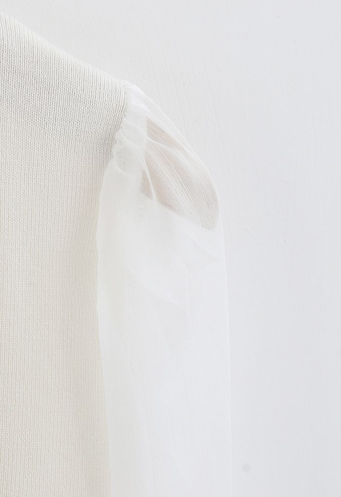 Sheer Sleeves Wrapped Knit Top in White